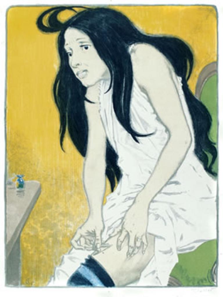 Eugene Grasset: Morphinomane (1897). Een naturalistische afbeelding van een verslaafde vrouw die zichzelf een shot toedient.