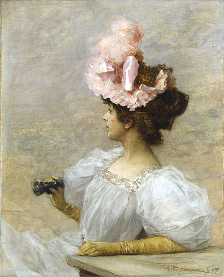 Schilderij van F. Kaemmerer: Vrouw met operakijker (1897).